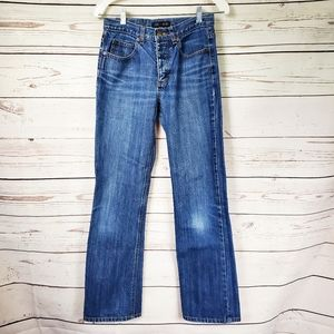 J Crew button fly bootcut blue mid rise jeans 4/32